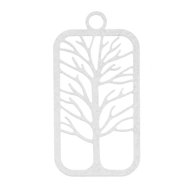 Beadaholique White Stamping By Ezel Tree Of Life Pendant 38mm