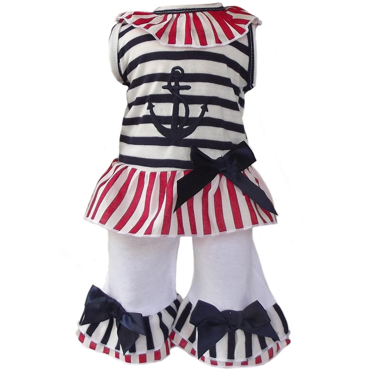 AnnLoren 'Patriotic Sailor' Two-piece Doll Outfit