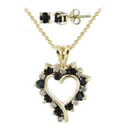 Glitzy Rocks Gold Over Silver Diamond Accent Heart Necklace and Earring Set