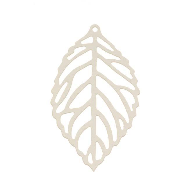 Beadaholique Ivory White Filigree Leaf Pendant 36mm Stamping By Ezel