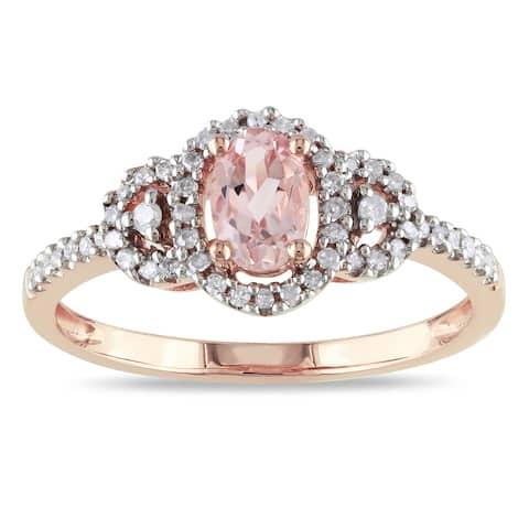 Miadora 10k Rose Gold Morganite and 1/6ct TDW Diamond Ring (H-I, I2-I3) - Pink