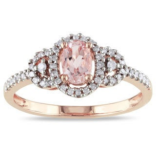 Miadora 10k Rose Gold Morganite and 1/6ct TDW Diamond Ring (H-I, I2-I3)