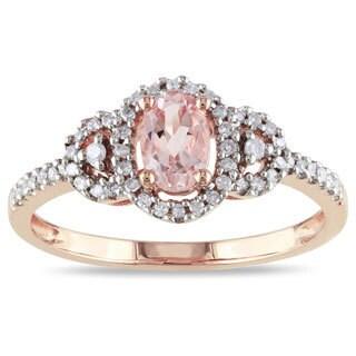 Miadora 10k Rose Gold Morganite and 1/6ct TDW Diamond Ring (H-I, I2-I3)