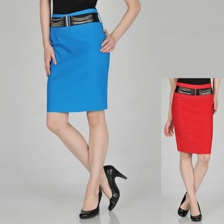 Addiction Juniors Belted Stretch Skirt