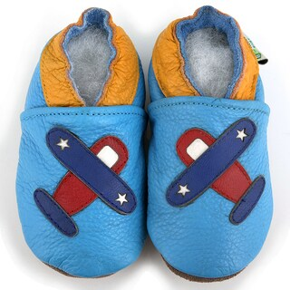 Airplane Soft Sole Blue Leather Baby Shoes