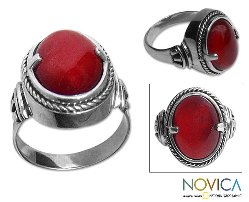 Handmade Sterling Silver 'Dragon Eye' Carnelian Solitaire Ring (Indonesia)