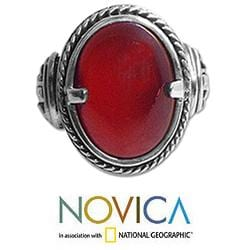Handmade Sterling Silver 'Dragon Eye' Carnelian Solitaire Ring (Indonesia) - Thumbnail 2