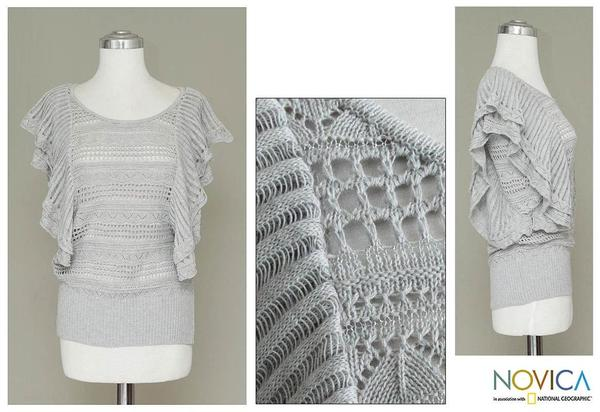 Cotton Blend 'Andean Butterfly' Sweater (Peru)
