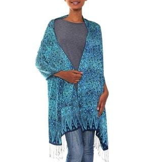Handmade Silk 'Javanese Blue' Batik Shawl (Indonesia)