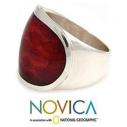 Sterling Silver 'Morocco Red' Natural Resin Ring (Indonesia) - Thumbnail 1