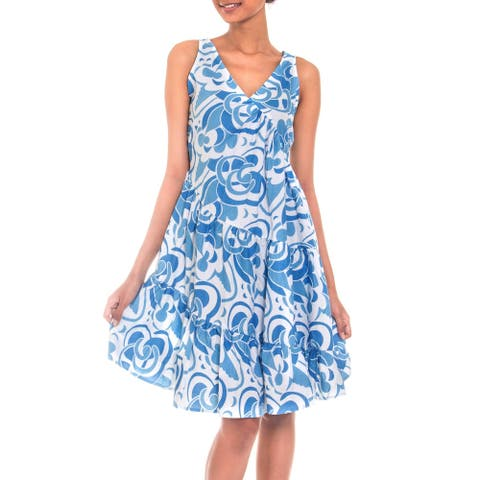 Balinese Sea Handmade Artisan Designer Cotton Blue White Batik Women's Clothing Fashion Garden Party Swing Dress (Indonesia)