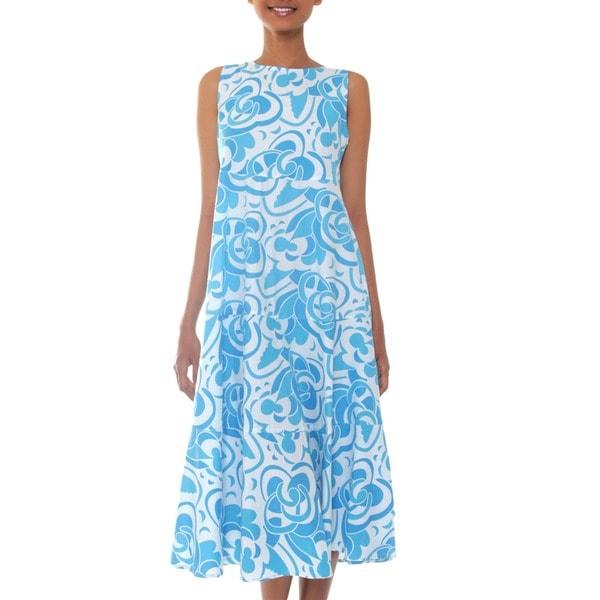 Handmade Cotton 'Bali Blue' Batik Dress (Indonesia)