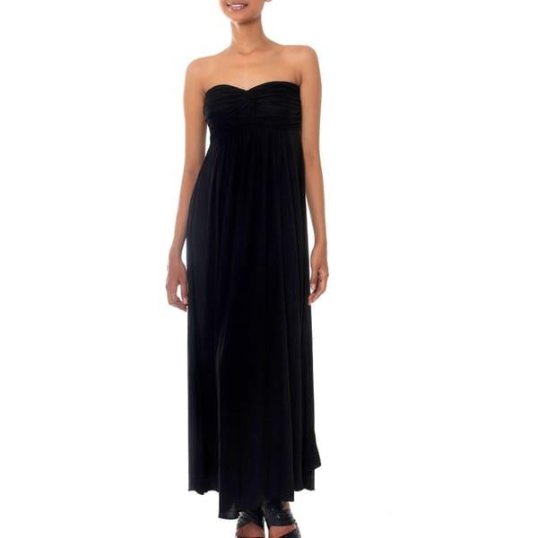 Handmade Rayon 'Black Bali Empress' Maxi Dress (Indonesia)