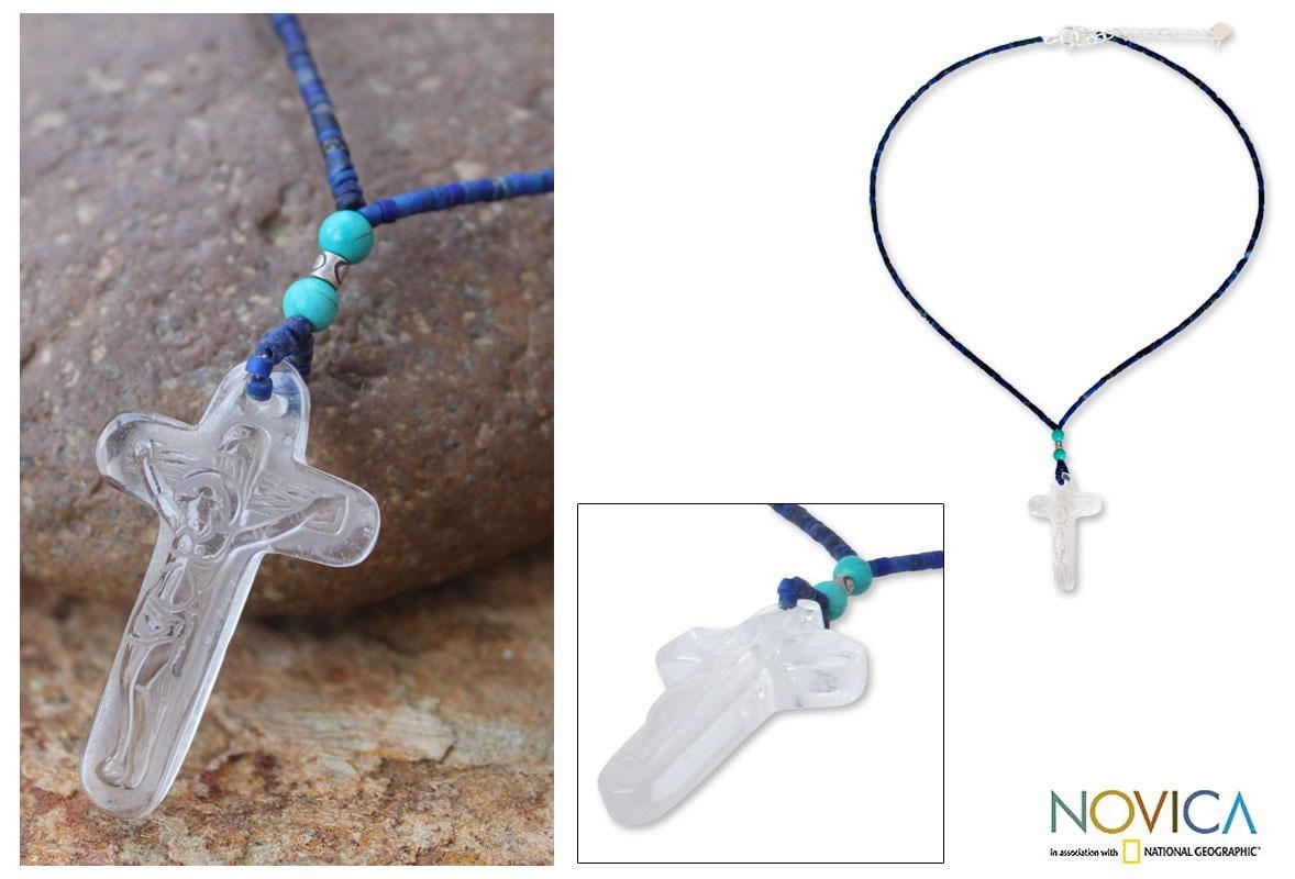 Handmade Lapis Lazuli and Quartz 'Crystal Crucifix' Necklace (Thailand)