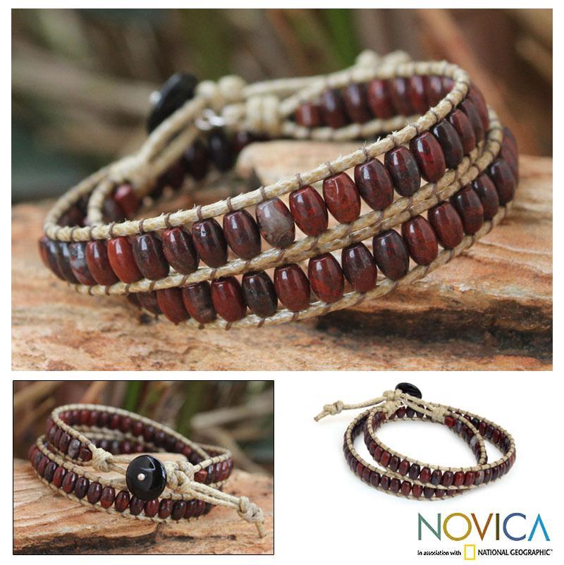 Handmade Jasper and Agate 'River of Roses' Wrap Bracelet (Thailand)