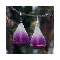 Natural Orchid Petal 'Chiang Mai Beauty' Earrings (Thailand)
