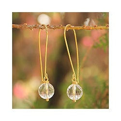 Gold Overlay 'Songkran Moon' Quartz Earrings (Thailand)