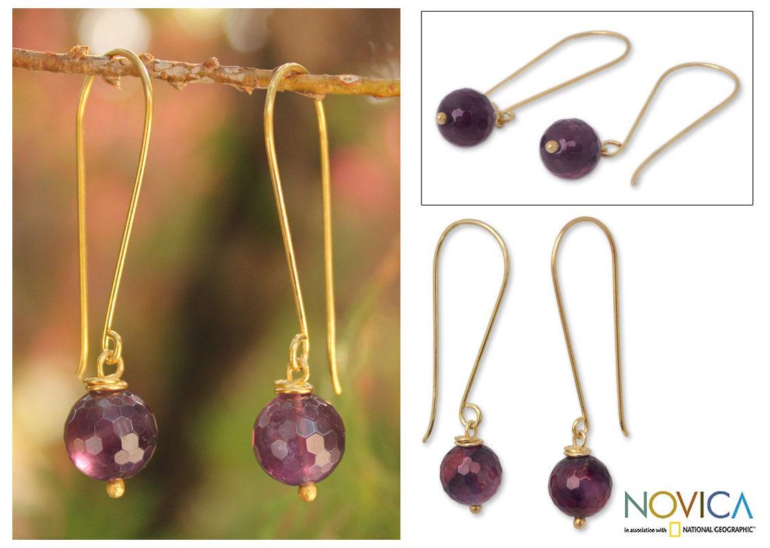 Handmade Gold Overlay 'Songkran Moon' Amethyst Earrings (Thailand)