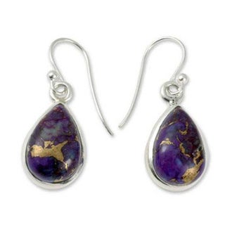 Sterling Silver 'Beautiful Goddess' Comp Turquoise Earrings (India)