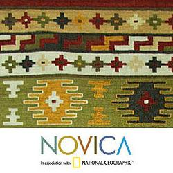 Hand-woven Wool 'Holi Joy' Brown Yellow Rug (4x6) (India)