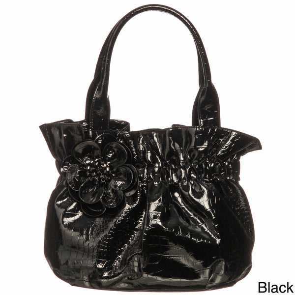 Valencia Croco-embossed Belted Shopper Bag