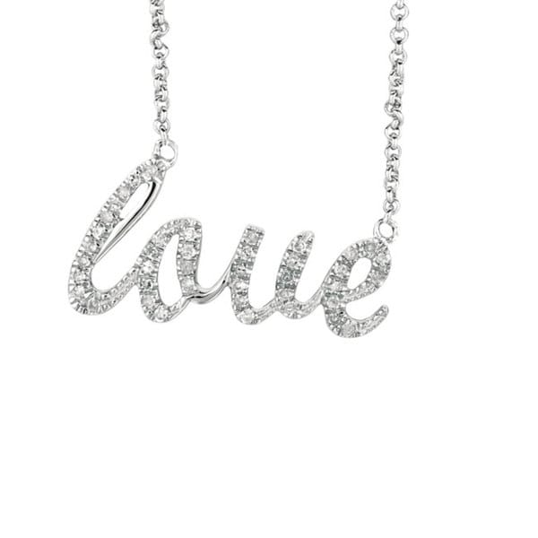 Sterling Silver 1/6ct TDW Diamond Expression LOVE Necklace