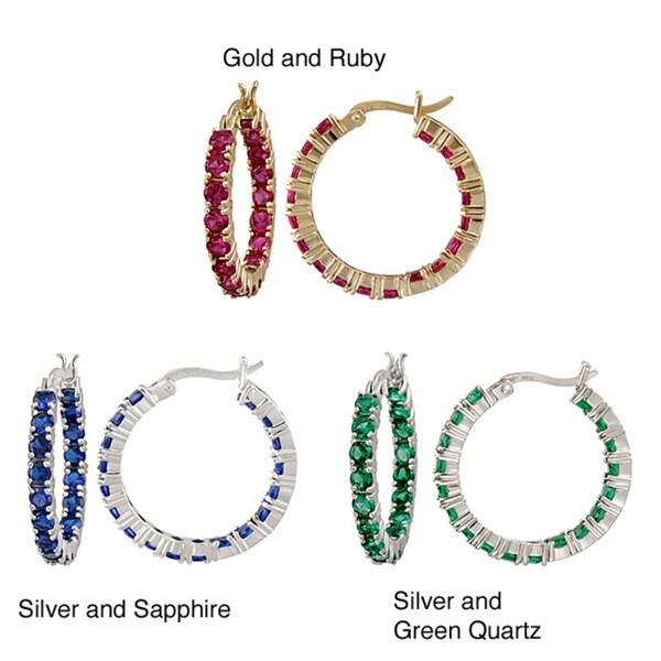 Glitzy Rocks 18k Gold over Silver Ruby Hoop Earrings