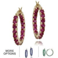 Glitzy Rocks 18k Gold over Silver Ruby Hoop Earrings