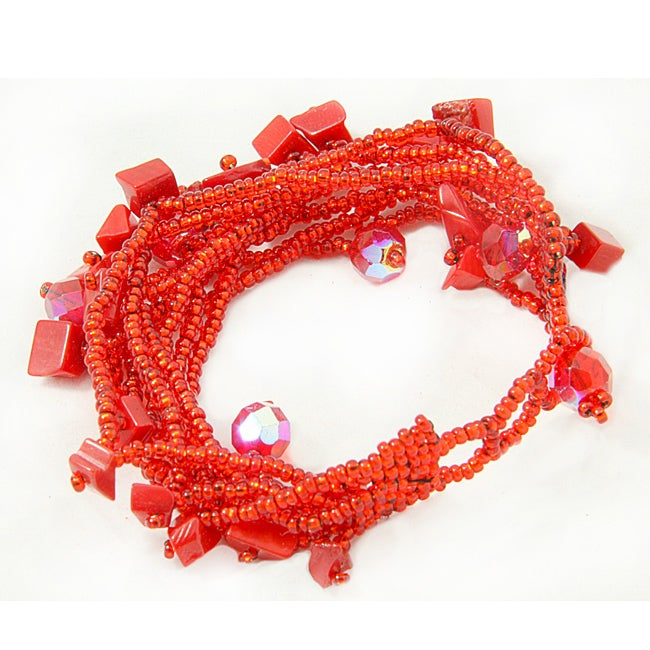 Handmade Multi-Strand Czech Red Beaded Bracelet (Guatemala) - Thumbnail 0