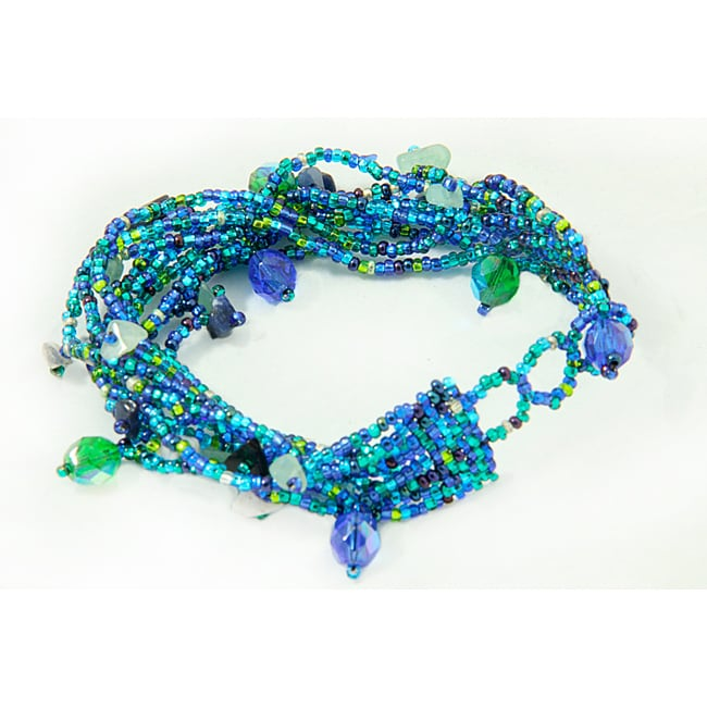 Multi-Strand Czech Blue/Green Beaded Bracelet (Guatemala)