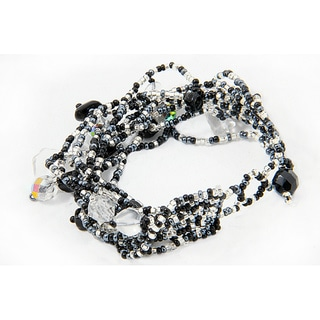 Handmade Multi-Strand Czech Black/White Beaded Bracelet (Guatemala)