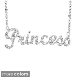 Sterling Silver Diamond 'Princess' Word Necklace