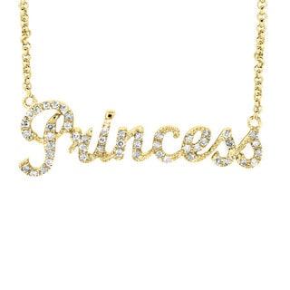 Sterling Silver Diamond 'Princess' Word Necklace
