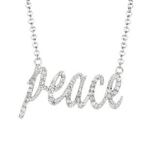 Silver 1/5ct TDW Diamond Expression 'Peace' Necklace (H-I, I2-I3)