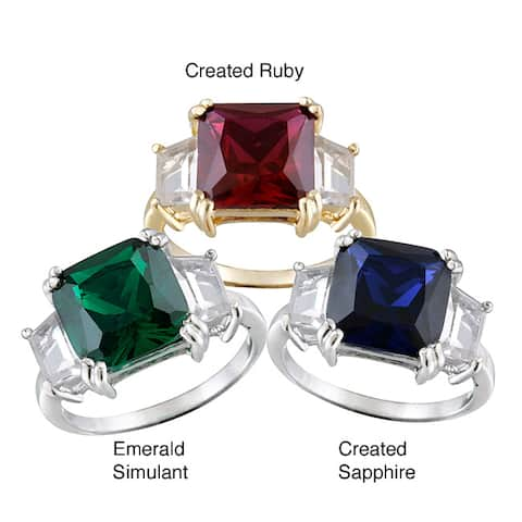 Glitzy Rocks Sterling Silver 3-stone Gemstone Solitaire Ring