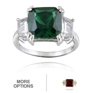 Glitzy Rocks Sterling Silver 3-stone Gemstone Solitaire Ring