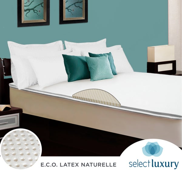 Select Luxury E.C.O Naturally Dunlop Latex 2-inch Full-size Reversible Mattress Topper With Cover