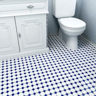 Somertile 11.625x11.625-inch Victorian Octagon Matte White with Cobalt Dot Porcelain Floor and Wall|https://ak1.ostkcdn.com/images/products/6603215/P14173709.jpg?impolicy=medium