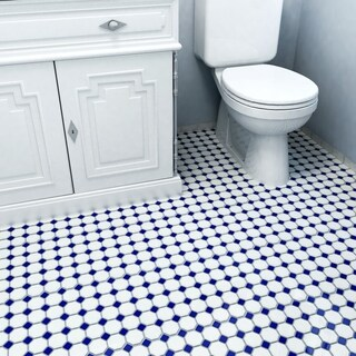 SomerTile 11.5x11.5-inch Victorian Octagon White and Cobalt Porcelain Mosaic Floor and Wall Tile (10 tiles/9.2 sqft.)
