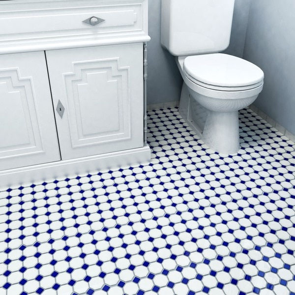 Somertile 11.625x11.625-inch Victorian Octagon Matte White with Cobalt Dot Porcelain Floor and Wall