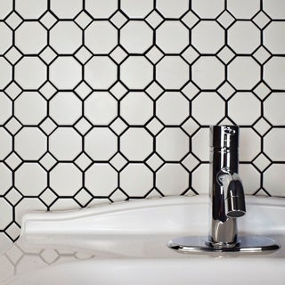 SomerTile 11.5x11.5-inch Victorian Octagon White with Dot Porcelain Mosaic Floor and Wall Tile (10 tiles/9.2 sqft.)