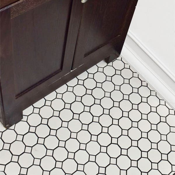 Inch Victorian Octagon White With Dot