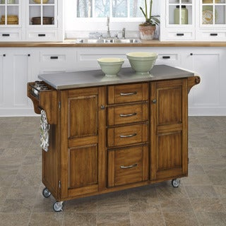 Gracewood Hollow Defoe Warm Oak Finish Stainless Top Kitchen Cart