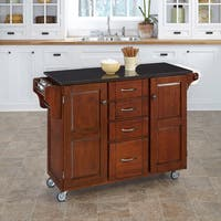 Gracewood Hollow Defoe Cherry Finish Black Granite Top Kitchen Cart
