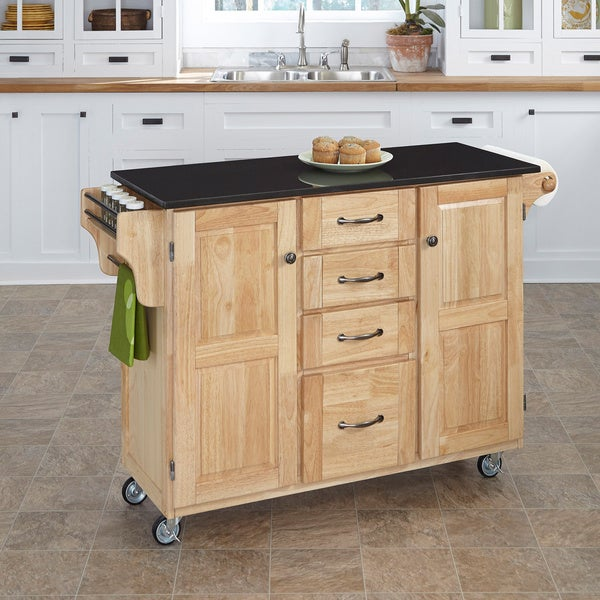 Natural Finish Black Granite Top Create-a-Cart by Home Styles