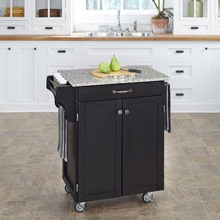 Cuisine Cart Black Finish SP Granite Top by Home Styles