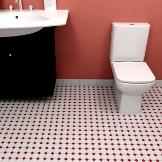 Somertile 11.625x11.625-inch Victorian Octagon White with Burgundy Dot Porcelain Floor and Wall Tile