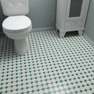 SomerTile 11.625x11.625-inch Victorian Octagon Matte White with Green Dot Porcelain Floor and Wall T