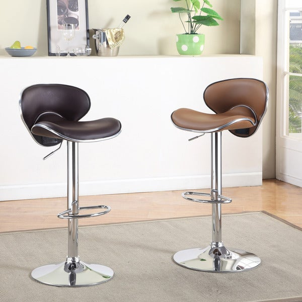 Furniture of America Ella Modern Design Leatherette Height Adjustable Bar Stool
