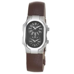 Philip Stein Women's 'Signature' Brown Strap Dual-Time Sapphire Watch - Thumbnail 0
